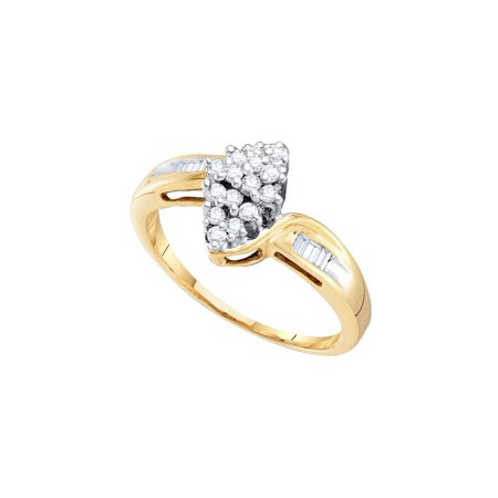 10kt Yellow Gold Womens Round Diamond Oval Cluster Baguette Ring 1/4 Cttw Baguette Diamond Ring Setting