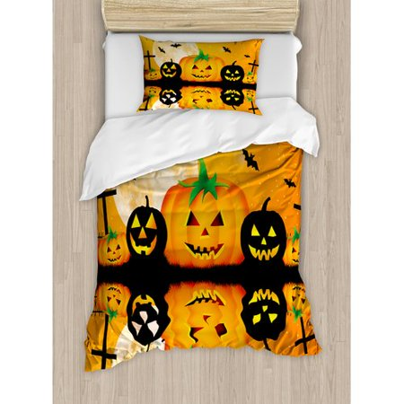 Ambesonne Halloween Spooky Carved Pumpkin Full Moon with Bats and Grave Lake Duvet Cover Set