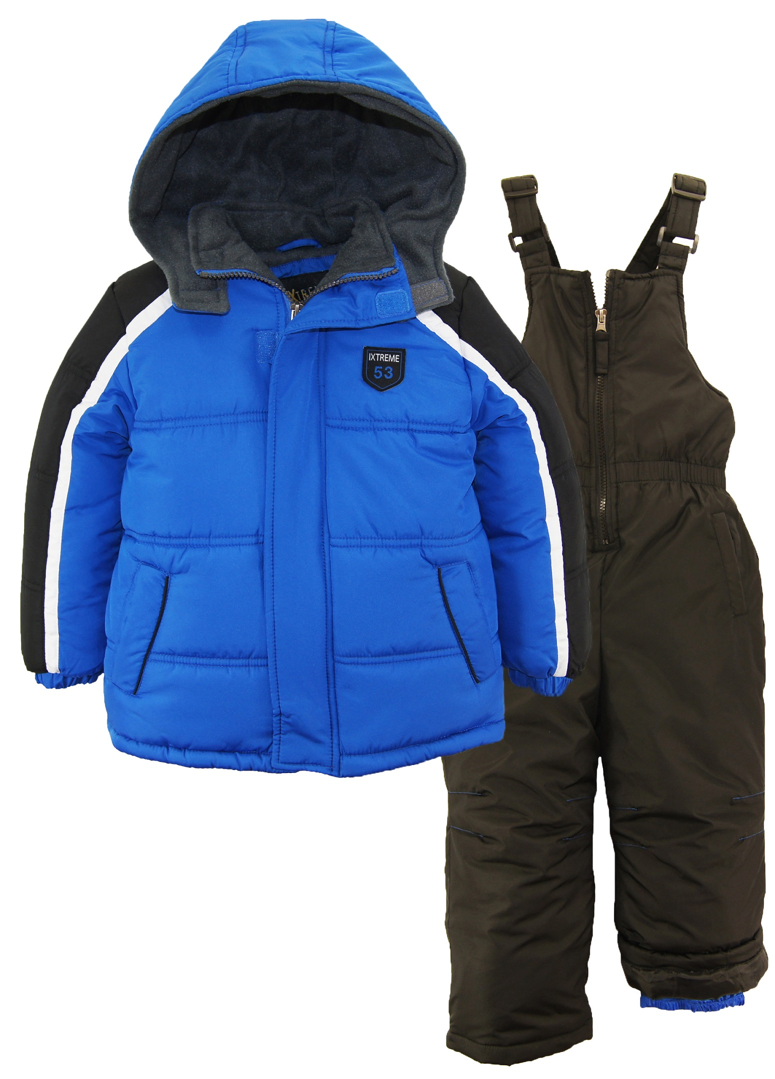 iXtreme Boys Colorblock Expedition Snowsuit Puffer Winter Jacket Ski Bib