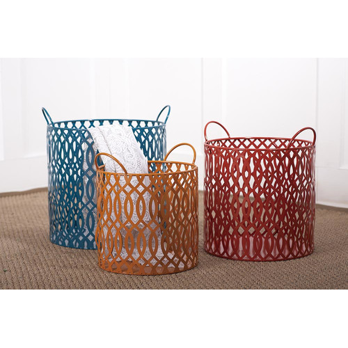 Transpac Color Coded 3 Piece Bright's Metal Round Basket Set