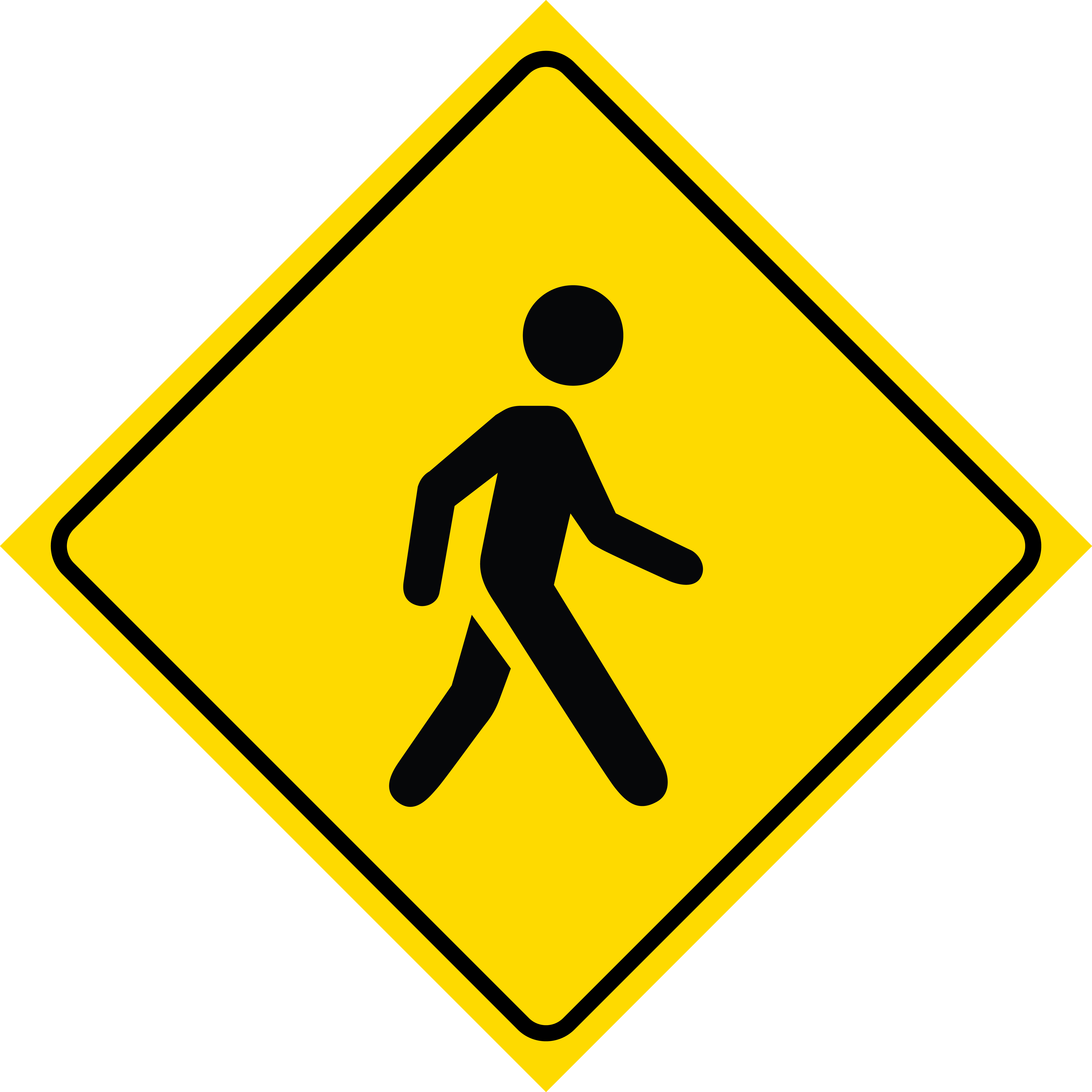Aluminum Yellow Diamond Caution Walking Pedestrian Person Crossing Signs Metal Square Sign, 12x12