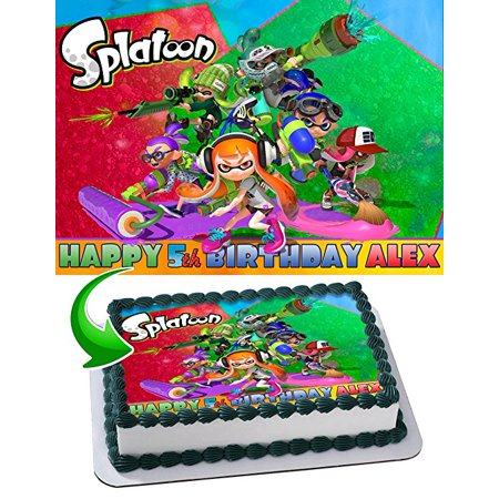 Splatoon Nintendo Edible Image Cake Topper Personalized Icing Sugar Paper A4 Sheet Edible Frosting Photo Cake 1/4 Edible Image for cake](Nintendo Decorations)