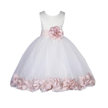 30d761211fda Ekidsbridal Lace Top Floral Petals Ivory Flower Girl Dress Tulle Weddings  Summer Easter Dress Special Occasions Pageant Toddler Girl s Clothing  Holiday ...