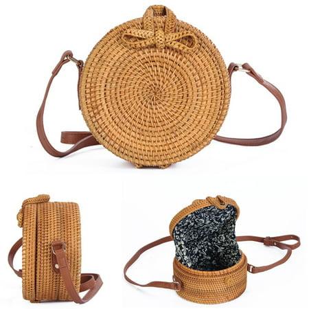Women Hand Woven Bag Round Rattan Straw Bohemia Style Beach Circle Beach Bags](Woven Beach Bag)