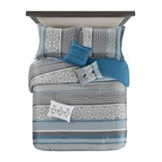 Mainstays Princeton Teal Stripe 7 Piece Comforter Bedding Set
