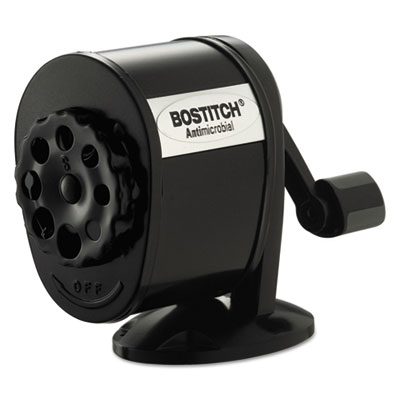 Counter-Mount/Wall-Mount Antimicrobial Manual Pencil Sharpener, Black, Sold as 1 Each
