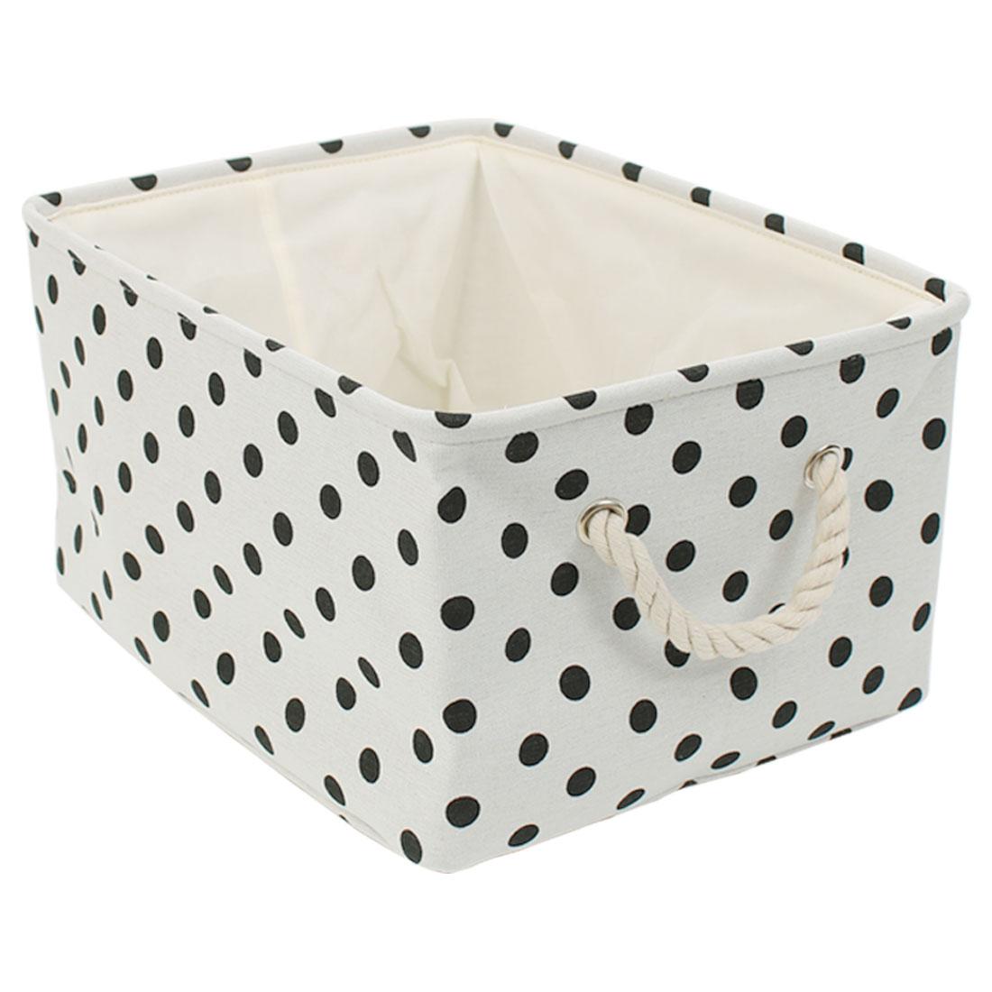 Foldable Canvas Fabric Storage Basket Bin w Handles Drawstring Cover
