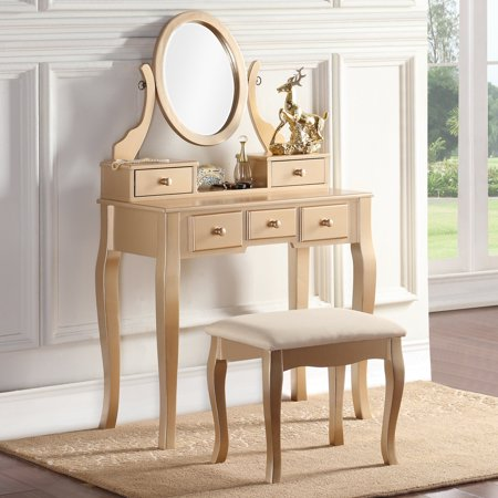 Roundhill Furniture Ashley Wooden Bedroom Vanity And Stool