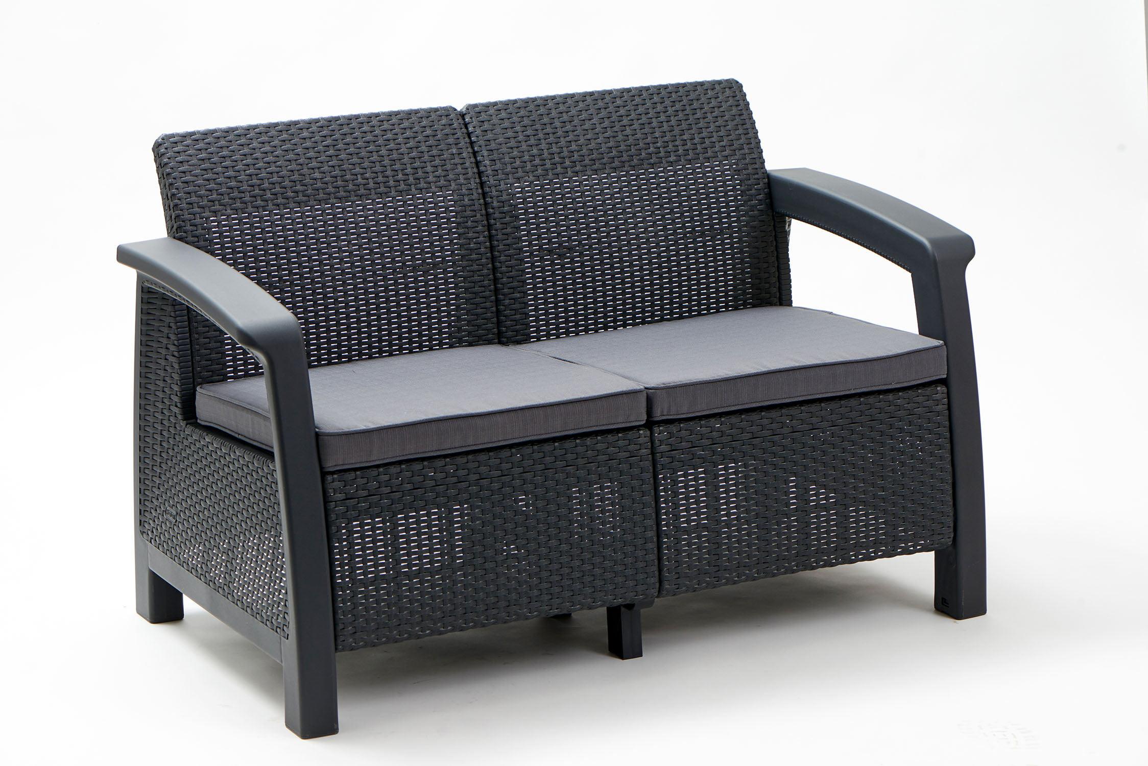 Keter bahamas loveseat resin outdoor patio furniture brown walmart com