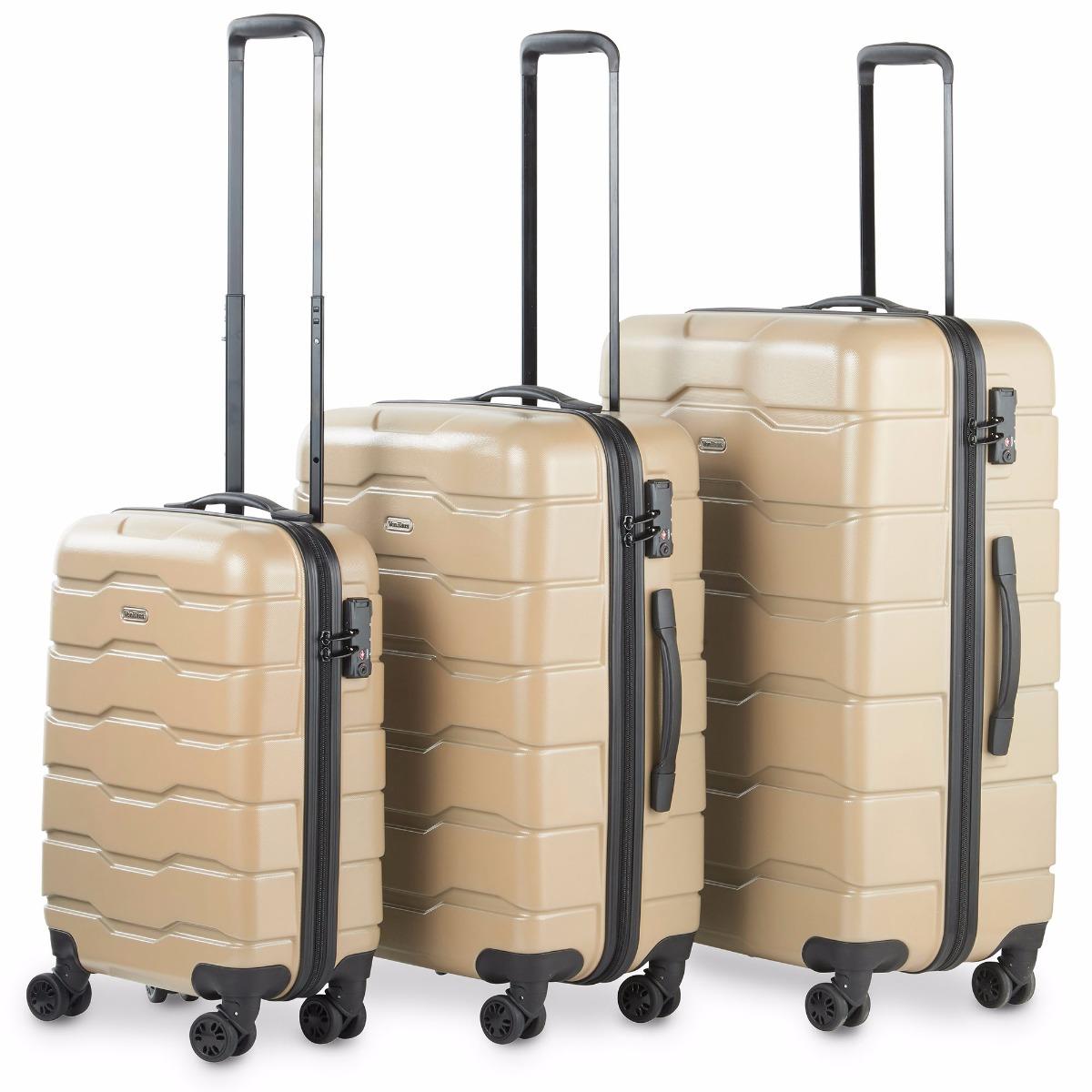 VonHaus Premium Champagne 3 Piece Lightweight Travel Luggage Set - Hard Shell Suitcase with 4 Spinner Wheels, TSA Integrated Lock, Extendable Handle - Small, Medium and Large
