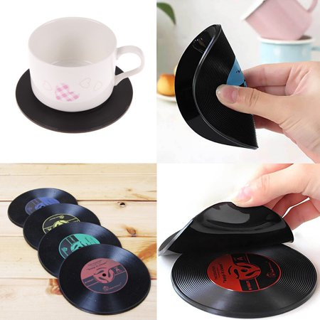 CUH Set of 4 Silicone Coaster Retro CD-Design Anti-slip PVC Holder Drink Pad Cup Coffee Mat Placemat for