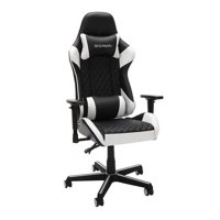 Racecar-style Gaming Chair 275 Lb. Capacity Adjustable Armrests Infinite Angle Lock Reclining- White
