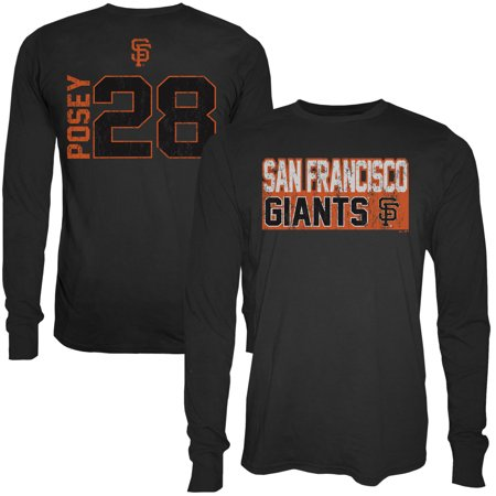 brand new eae6b 87ebe Buster Posey San Francisco Giants Majestic Threads Sidewinder Name & Number  Long Sleeve T-Shirt - Black