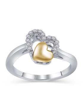 494c5da1e Product Image Diamond Accent Sterling Silver Double Heart Promise Ring