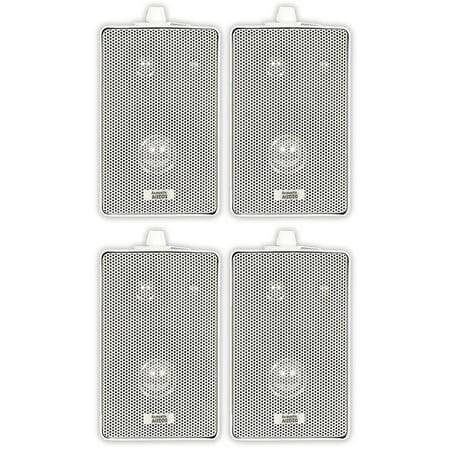 Acoustic Audio 251W Indoor Outdoor 3 Way Speakers 800 Watt White 2 Pair Pack (800 Watt Sound System)
