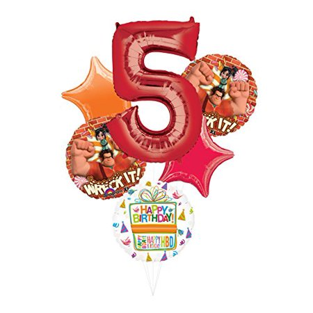 Wreck It Ralph Party Supplies 5th Birthday Balloon Bouquet Decorations - Wreck It Ralph Vanellope Party Supplies