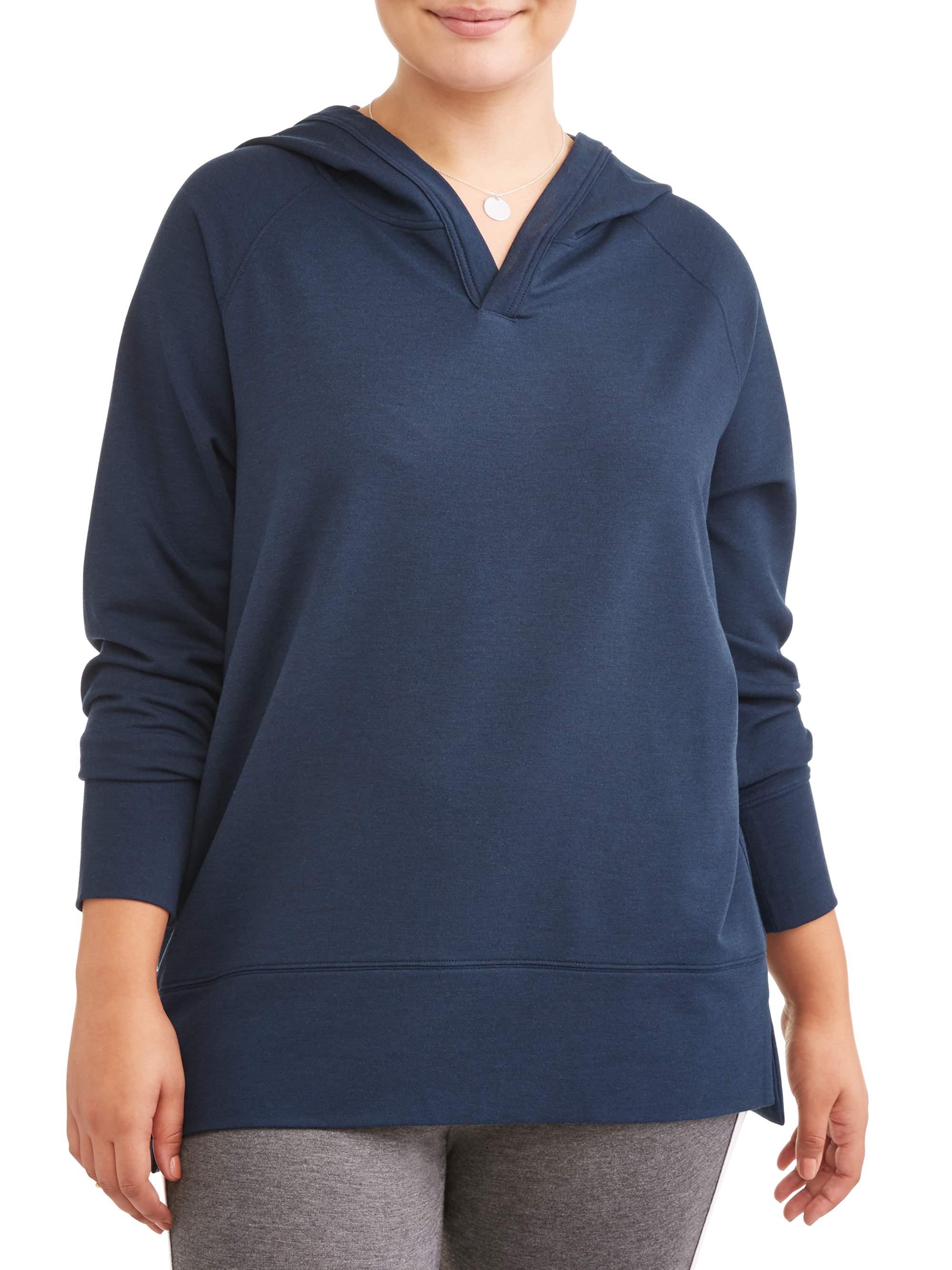 939d431b7e1 AVIA - Avia Women's Plus Size Hooded Tunic Sweatshirt - Walmart.com