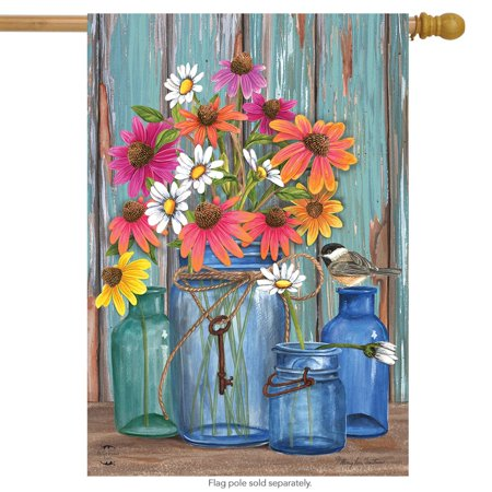 "farm fresh flowers spring house flag mason jars 28"" x 40"" briarwood lane"