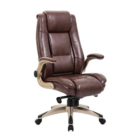 KADIRYA High Back Bonded Leather Executive Office Chair - Adjustable Recline Locking Mechanism,Flip-up Arms Computer Desk Chair,Thick Padding and Ergonomic Design for Lumbar Support (Brown) Bonded Leather Arm Chair