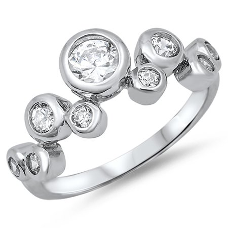 Sterling Silver Women's Flawless Colorless Cubic Zirconia Bubble Cluster Ring (Sizes 4-12) (Ring Size 12) Bubbles Sterling Silver Ring
