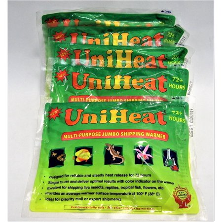 Multi-purpose jumbo 72-hour  Heat Pack for Cold Weather Shipping Plants, Live Insects, Reptiles, Tropical Fish and other temperature sensitive products. Protect products from cold weather. 5 PK Unihea