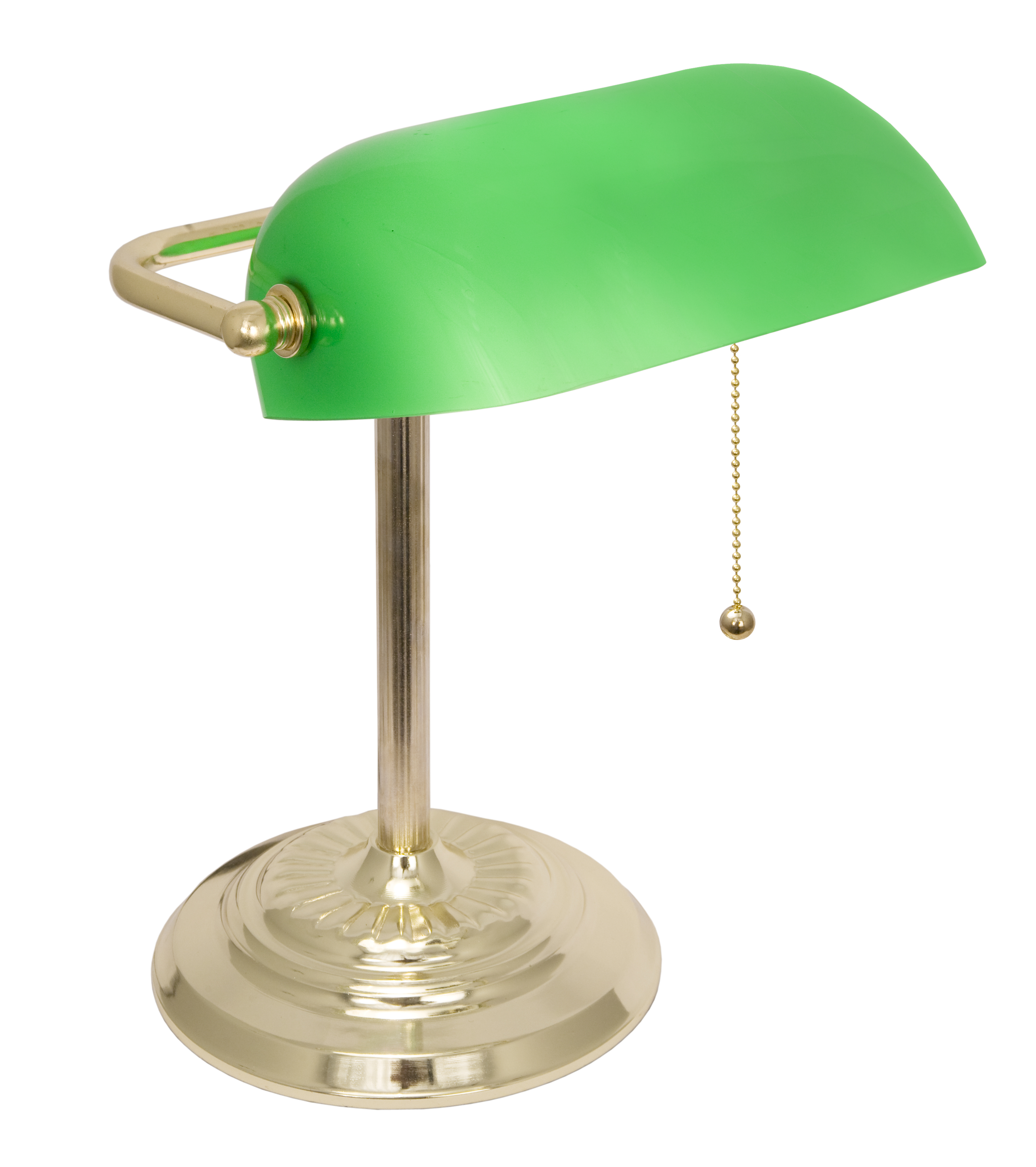 LightAccents Metal Bankers Desk Lamp Glass Shade (Brass) by