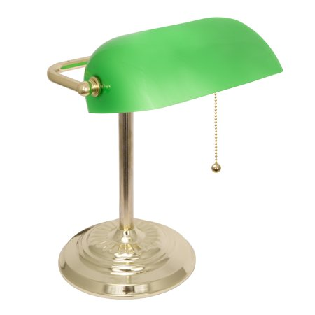 LightAccents Metal Bankers Desk Lamp Glass Shade  (Brass) (Desk Lamp Green)