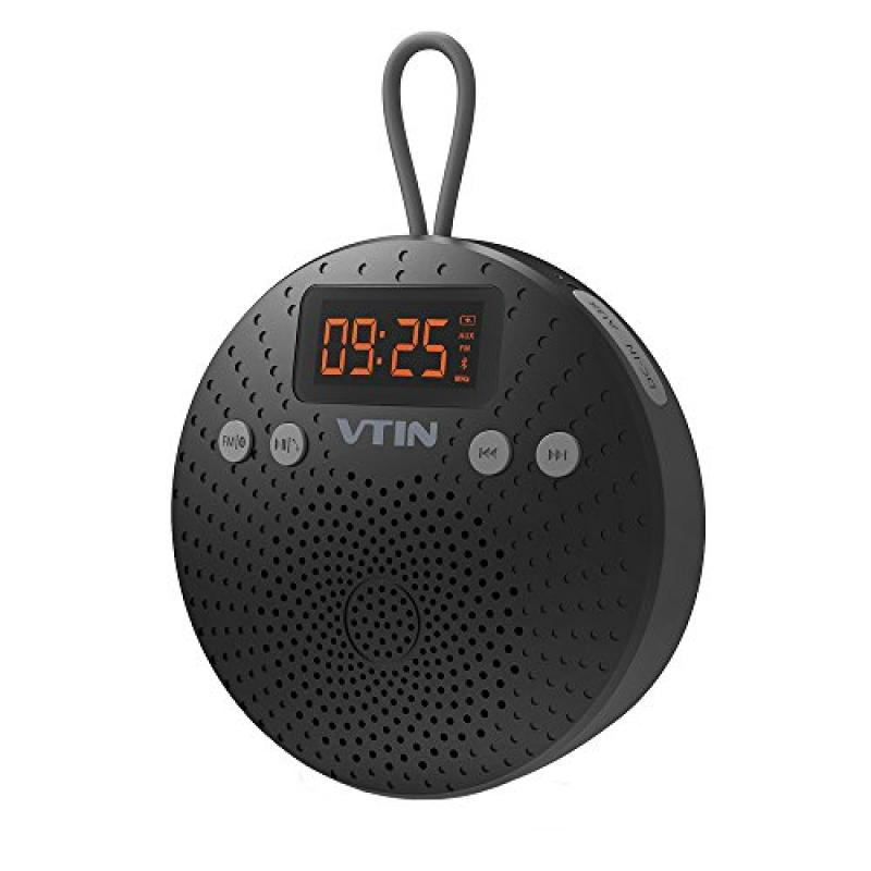 Vtin Shower Radio with FM, Portable Bluetooth Shower Speaker Waterproof with Suction Cup, LCD Display, 5W Driver for Shower