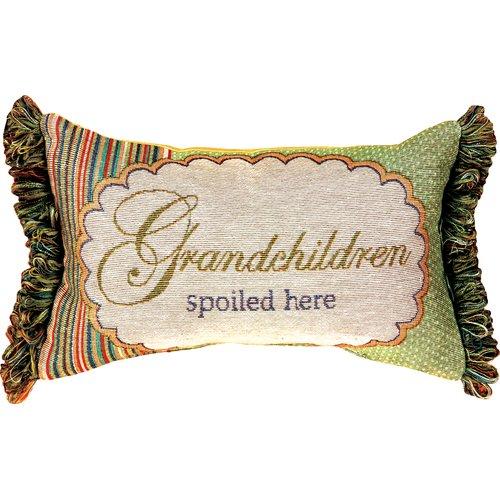 Manual Woodworkers & Weavers Grandchildren Spoiled Here Word Lumbar Pillow