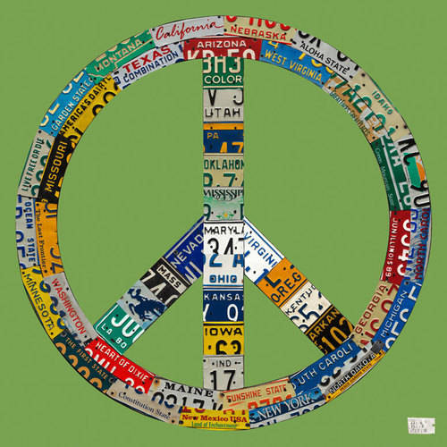 Oopsy Daisy - License Plate Peace - Green Canvas Wall Art 21x21, Aaron Foster