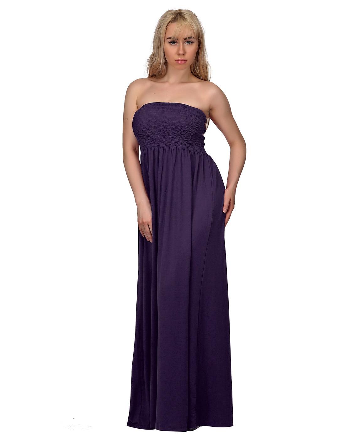 HDE Women\'s Strapless Maxi Dress Plus Size Tube Top Long Skirt Sundress