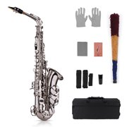 Muslady Eb Alto Saxophone Sax Brass Lacquered Gold 802 Key Type Woodwind Instrument with Padded Carry Case Gloves Cleaning Cloth Brush Sax Straps Reeds