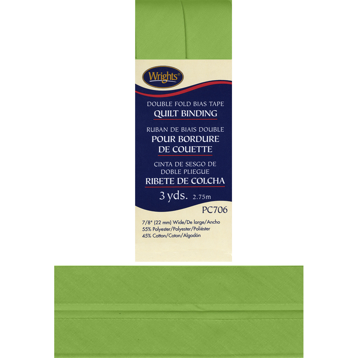 "Wrights 7/8"" Double Fold Quilt Binding, Green Glow"