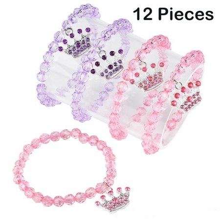 Beaded Princess Bracelets For Kids With Tiara Charm – 12 Pack, Pink And Purple Wrist Bands - 6 ½ Inch Stretchy, One Size Fits All – For Birthday Parties, Halloween, Party Favors Etc. – By Kidsco - Bracelets For Kids