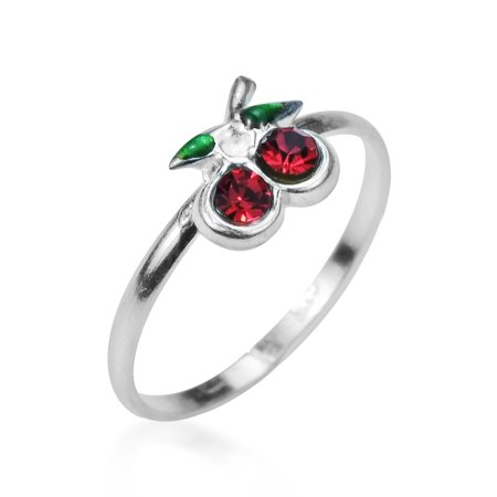 Sublime Cherry Inlaid Red Cubic Zirconia .925 Sterling Silver Toe Ring or Pinky Ring
