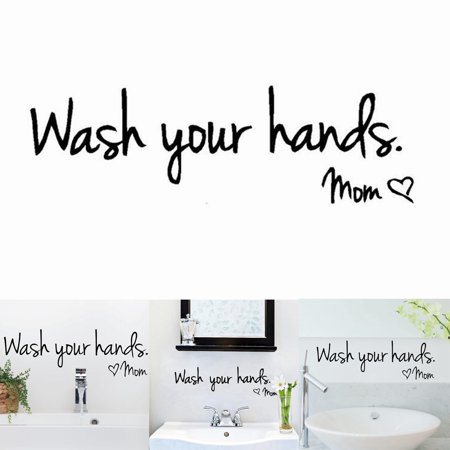 Wash Your Hands Love Mom Quote Bathroom Wall Stickers Waterproof Art Vinyl Decal Bathroom Wall Decor (6