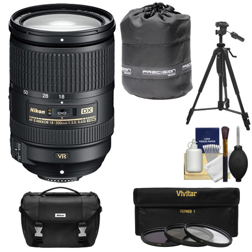 Nikon 18-300mm f/3.5-5.6G VR DX ED AF-S Nikkor-Zoom Lens with 3 Filters + Case + Tripod + Kit for D3200, D3300, D5300, D5500, D7100, D7200 DSLR Camera