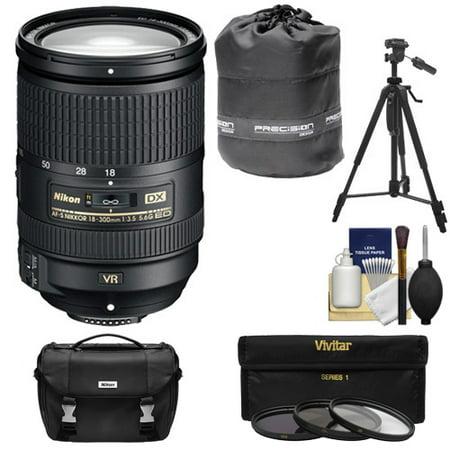 Nikon 18-300mm f/3.5-5.6G VR DX ED AF-S Nikkor-Zoom Lens with 3 Filters + Case + Tripod + Kit for D3200, D3300, D5300, D5500, D7100, D7200 DSLR Camera