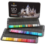 Castle Art Supplies 120 Piece Colored Pencils Set | Sketching, Coloring, Drawing Set for Adults and Kids | Metal Tin Set