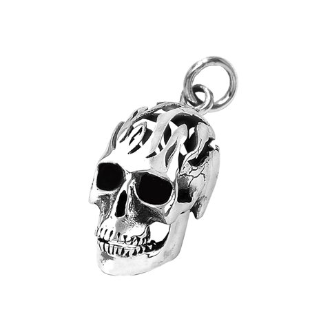 Stainless Steel 316L Big Round Skull with Moveable Mouth and Flames Pendant (Necklace not Included)