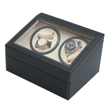 2 Colors PU Leather Automatic Silent Watch Winder Rotation Storage Case 10 Grid Dust-proof Display Box 11.8 x 9.3 x 4.7''