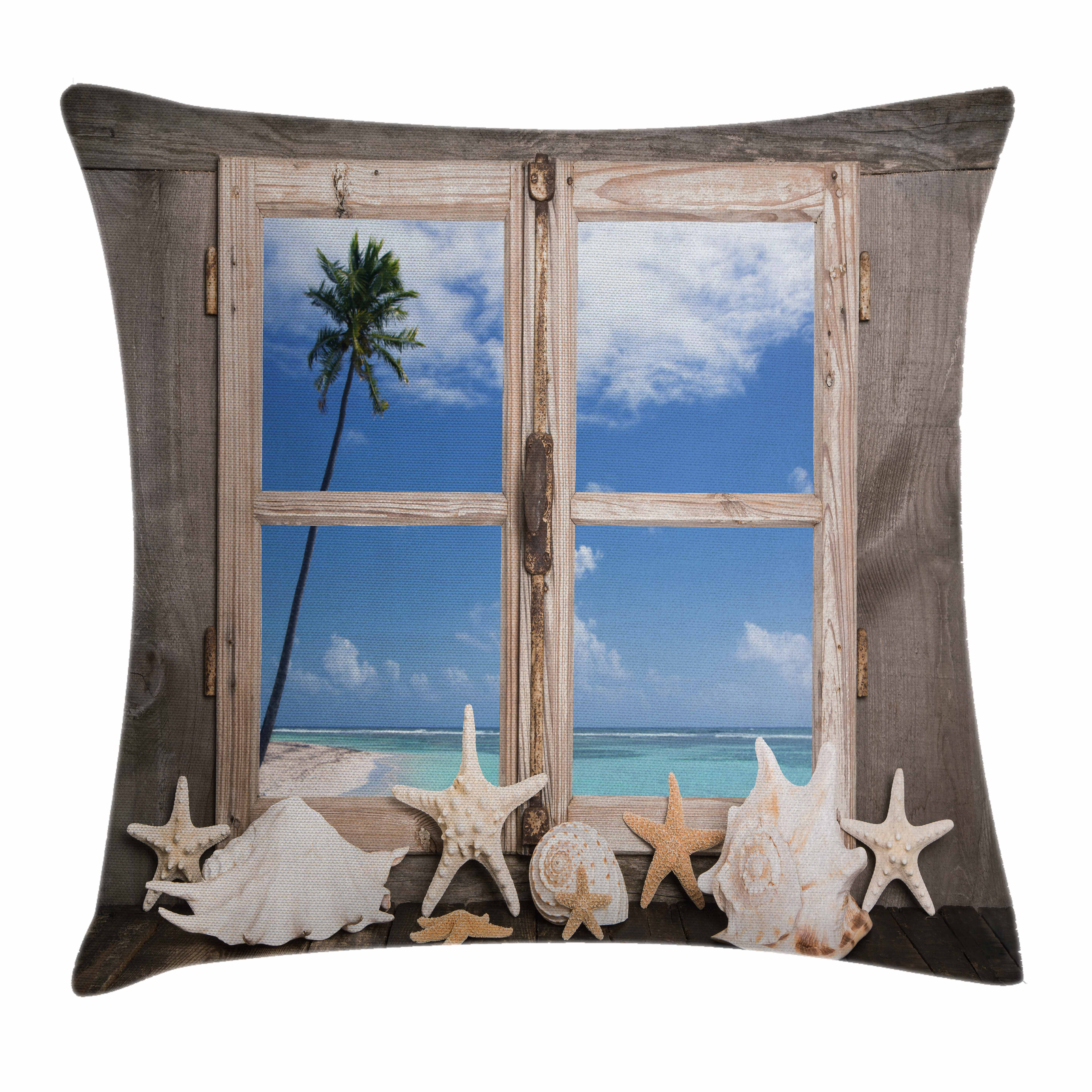 Beach Decor Throw Pillow Cushion Cover, Summer Holiday wih Seashells Starfish Palm Tree Ocean Print, Decorative Square Accent Pillow Case, 16 X 16 Inches, Light Brown Sky Blue and White, by Ambesonne