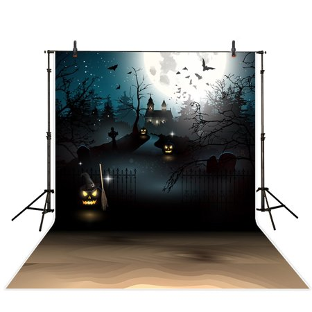 GreenDecor Polyster 5x7ft Halloween Theme Photography backdrop background Spooky Frontyard of Haunted House photo studio prop - Halloween Spooky Backgrounds
