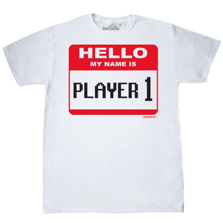 Inktastic Hello My Name Is Player 1 T-Shirt Gamer Ps3 Geek Couples Mens Adult
