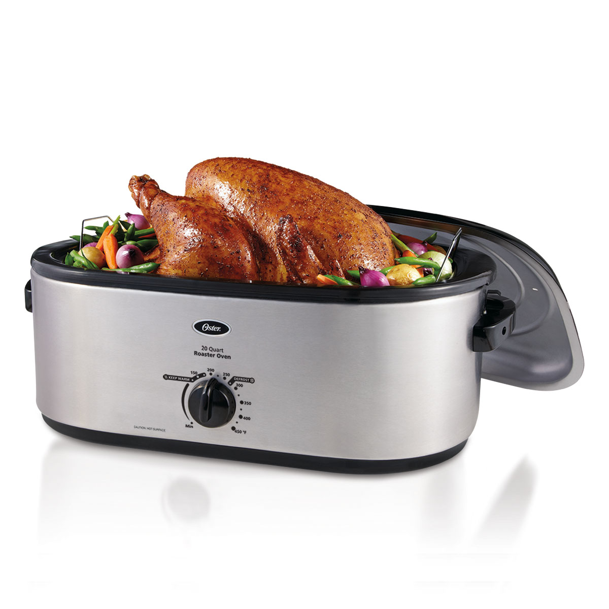Oster 24-Pound Turkey Roaster Oven, 20-Quart Capacity, Stainless-Steel New!