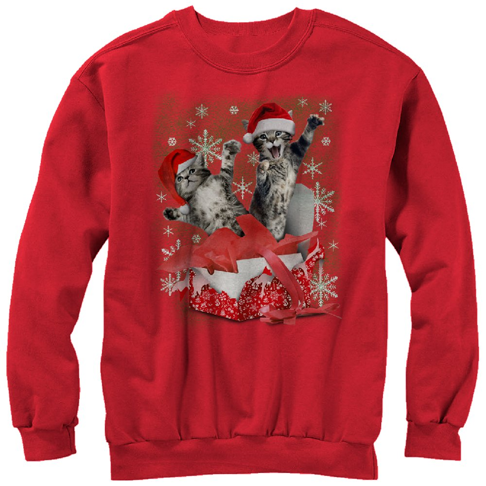 Women's Kitten Ugly Christmas Sweater Gift Surprise Sweatshirt