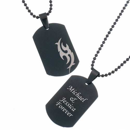Personalized Black Stainless Steel Engraved Tribal Dog Tag Pendant