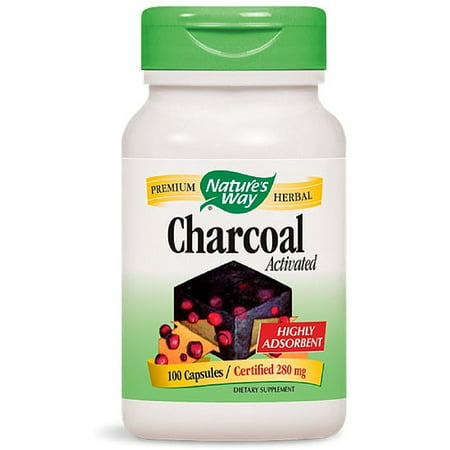 Nature's Way Charcoal Activated Capsules, 280 mg 100 - 100 Way Green