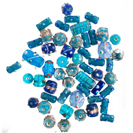 Glass Beads for Jewelry Making for Adults 120-140 Pieces Lampwork Murano Loose Beads for DIY and Fashion Designs – Wholesale Jewelry Craft Supplies (Blue Combo - 10 oz) ()