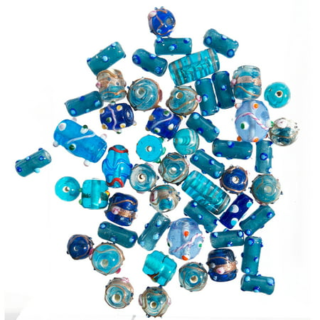 Glass Beads for Jewelry Making for Adults 120-140 Pieces Lampwork Murano Loose Beads for DIY and Fashion Designs – Wholesale Jewelry Craft Supplies (Blue Combo - 10 oz) (Glass Bead Jewelry Designs)